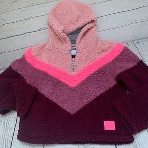 Justice Sherpa pink hooded sweatshirt NEW